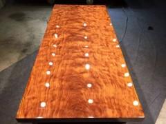 非洲巴花大板精品水波鬼脸纹实木办公茶桌书桌整木会议桌现货