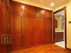 现代中式全实木衣柜四门原木移门推拉卧室大衣橱组装