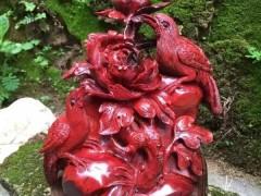 小叶紫檀《花开富贵》 鸡血红材质 高油性高密度