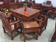 红木家具棋牌桌 非洲花梨实木麻将桌六件套 全自动红木麻将桌