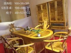 楠木府 大量供应金丝楠木家具 S形泡茶桌+圆角柜