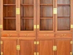 凭祥市匠心居红木家具店 缅甸花梨木书柜三件套 中式书柜 清式写字台办公书桌