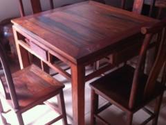 老挝大红酸枝方桌 五件套精品 无白皮 无烂疤 凭祥市匠心居红木家具店