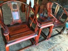 老挝大红酸枝皇宫椅 三件套全独板!上乘产品!无拼无补无白皮 凭祥市匠心居红木家具店