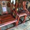 老挝大红酸枝皇宫椅 三件套全独板!上