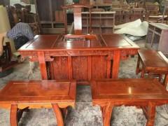 缅甸花梨将军茶台 用料全部独板 本厂产品不拼板、六件套、四凳 一椅 一桌 茶台尺寸160.80 凭祥市匠心居红木家具店