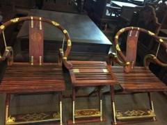 老挝大红酸枝交椅 三件套精致做工 凭祥市匠心居红木家具店