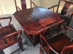 老挝大红酸枝六角茶台 茶台尺寸90.90 五件套独板独料 凭祥市匠心居红木家具店