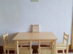 实木小桌椅儿童樟子松实木课桌方学习圆写字桌幼儿园实木课桌椅
