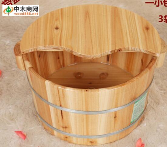足浴盆泡脚桶家用杉木无盖保健洗脚木桶洗脚盆带珠桶