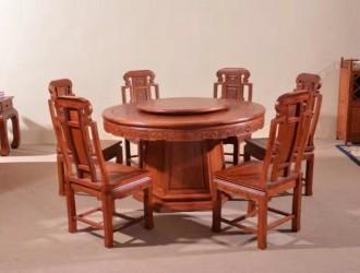 客厅中式仿古红木餐桌椅厂家联系方式