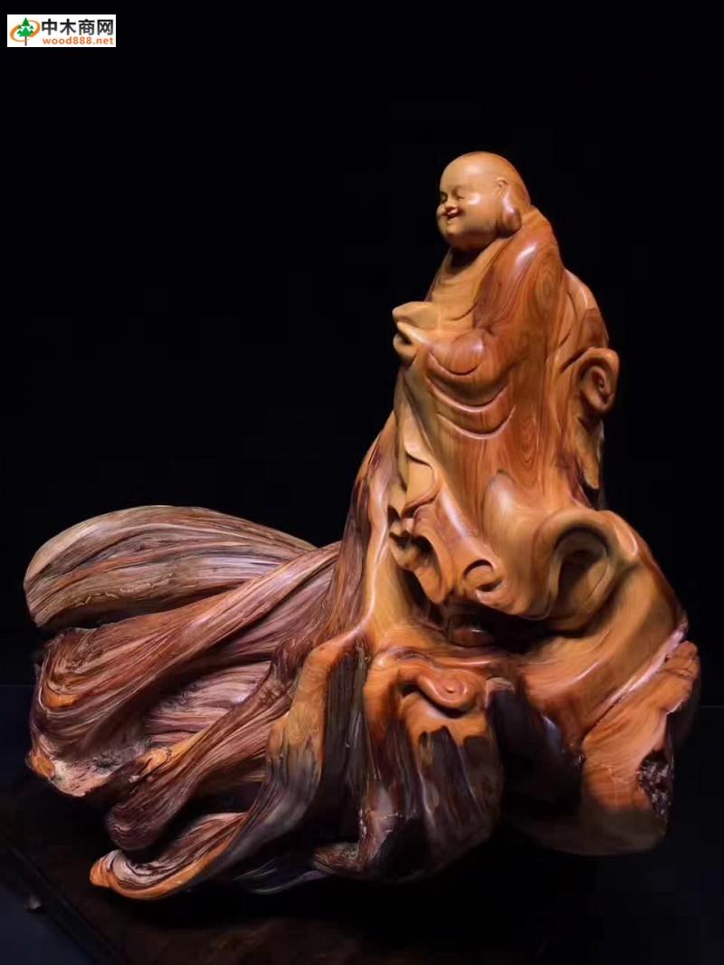 弥勒佛崖柏工艺木雕供应
