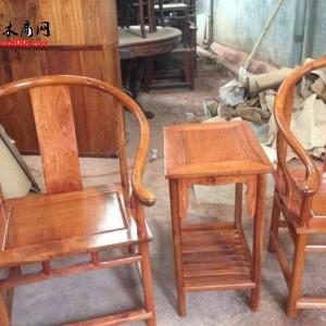 缅花圈椅三件套 全独板(明式)凭祥市匠心居红木家具店
