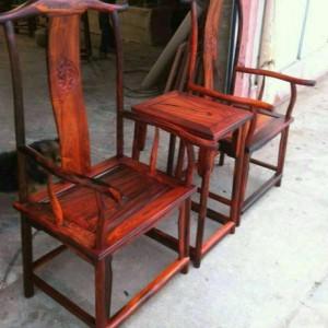 老挝大红酸枝精品 官帽椅 三件套全独板