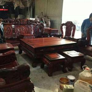 老挝大红酸枝孔雀沙发 13件套