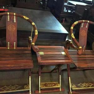 老挝大红酸枝交椅 三件套精致做工