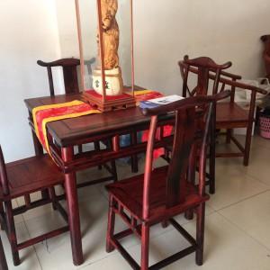大红酸枝四方桌五件套