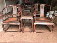 老挝大红酸枝皇宫椅三件套