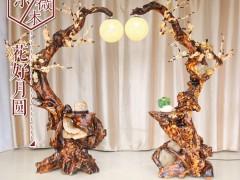 典尚木业紫薇木艺术根雕灯架仿真梅花屏风摆件自然抱石客厅装饰架