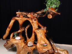 典尚木业香樟木根雕流水花架实木整体无拼接花盆架子多层绿植置物
