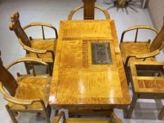 金丝楠木满金丝茶桌七件套