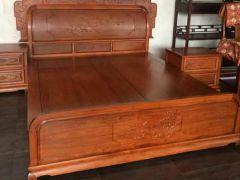缅甸花梨精品雕花床,纳善红木家具