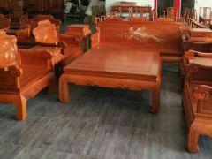 缅甸花梨精品雕花沙发椅,纳善红木家具