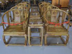 中鹏木艺金丝楠水波纹圈椅桢楠非阴沉木皇宫椅子家具