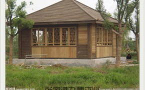 河北私人会所中式装修  木制凉亭 木结构房屋 室内地板装修