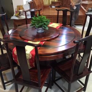 老挝大红酸枝圆餐桌品牌
