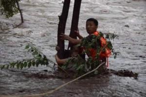 北京暴雨致车辆熄火 车内女子紧抱大树等待救援