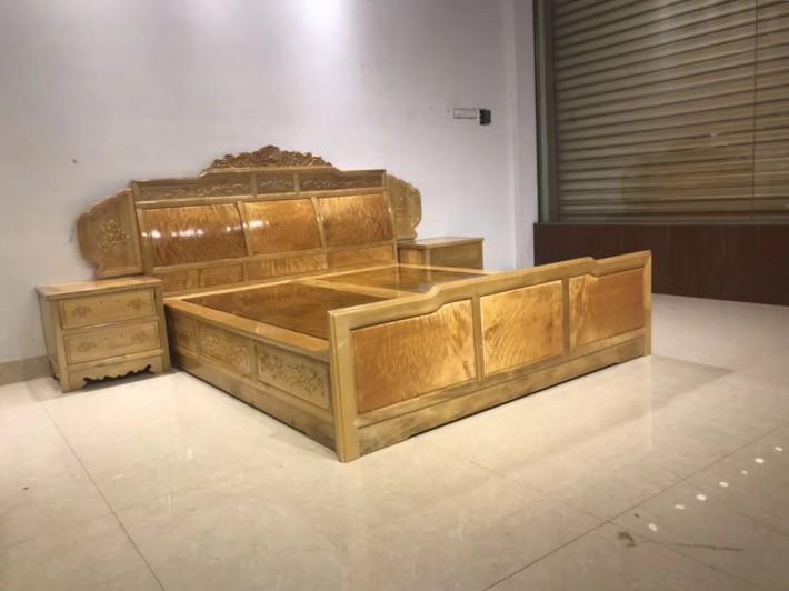金丝楠木大床2000×1800独板卧室高低床视频3