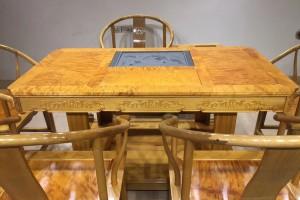 金丝楠木茶桌茶台长方桌158X85X80满花面板图片