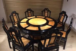 金丝楠木圆餐桌,圆台黑檀木框架大叶帧楠满花面板产品