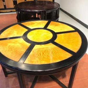 金丝楠木圆餐桌,圆台黑檀木框架大叶帧楠满花面板品牌