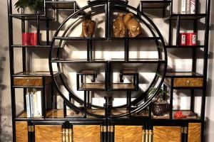 金丝楠木博古架,金丝楠木多宝阁黑檀木框架大叶帧楠面板图片