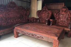 老挝大红酸枝老料九龙八马沙发八件套_正品交趾黄檀实木客厅沙发