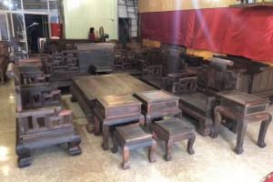 红木家具 老挝大红酸枝大富贵独板沙发十三件套 全实木交趾黄檀客厅组合