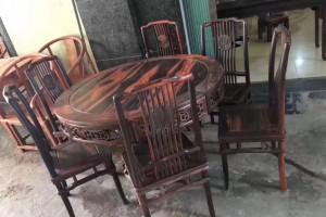 红木餐桌圆桌老挝大红酸枝木圆形圆桌交趾黄檀实木圆台桌椅组合