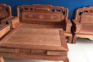 缅甸花梨木家具 缅花/大果紫檀国色天香6件套123客厅沙发大茶几4抽屉