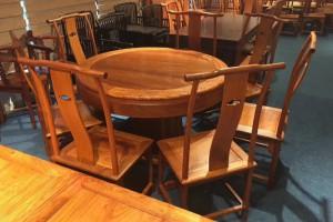红木圆桌缅甸花梨素面圆台缅花明式饭桌花梨木客厅雕花饭桌