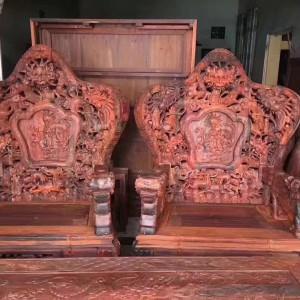 老挝大红酸枝老料九龙八马沙发八件套_正品交趾黄檀实木客厅沙发品牌