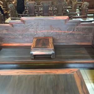 红木古典家具_老挝大红酸枝客厅沙发宝座组合三件套_中式精雕仙鹤宝座品牌