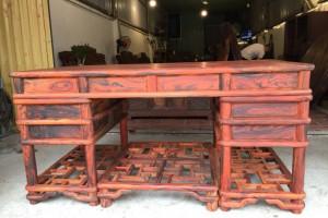 老挝大红酸枝1.6米办公桌主管台大班台交趾黄檀写字台电脑台式桌椅产品