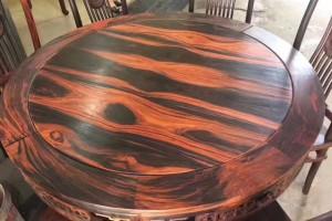 红木餐桌圆桌老挝大红酸枝木圆形圆桌交趾黄檀实木圆台桌椅组合产品