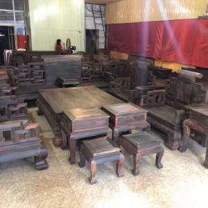 红木家具 老挝大红酸枝大富贵独板沙发十三件套 全实木交趾黄檀客厅组合品牌