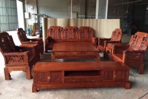 红木家具缅甸花梨木沙发客厅实木缅甸花梨沙发组合缅花图片