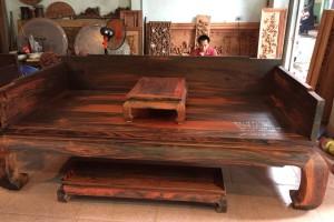 老挝大红酸枝曲尺罗汉床三件套_中式红木古典家具罗汉榻实木沙发床组合睡榻图片