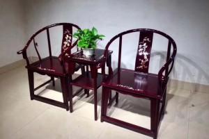 血檀皇宫椅赞比亚紫檀圈椅围椅三件套组合_工厂直营红木家具