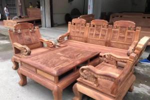 大果紫檀如意象头113沙发_缅花红木家具缅甸花梨木实木沙发